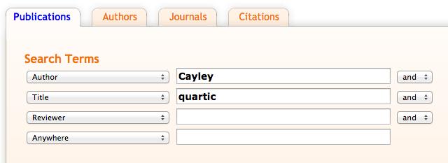 Screen Shot Cayley and quartic