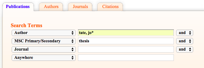 Screen Shot Tate Thesis search