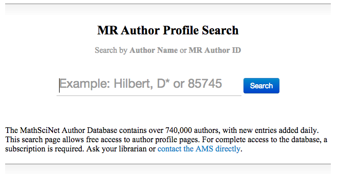 Screen Shot Author Profile Search - start