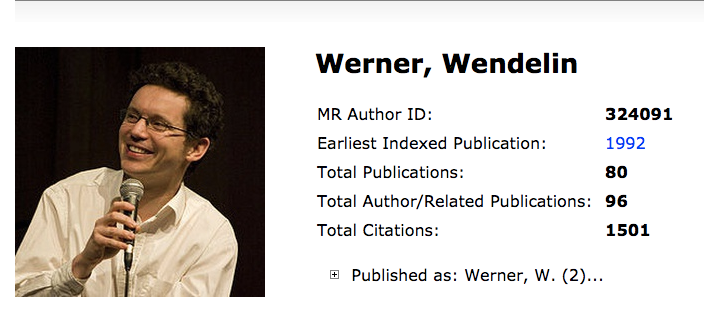 Screen shot of the top of the Author Profile page for Wendelin Werner