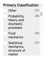Screen shot of the Primary Classification facets, including Probability Theory and Stochastic Processes