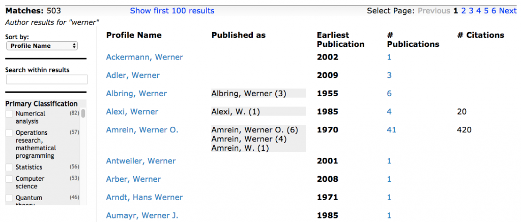 "Screen shot of the results of the Author Search for ""werner"", in tabular form, with headings: Profile Name, Published As, Earliest Publication, # of Publications, # of Citations"