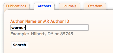 "Screen shot of an Author Search using ""werner"" as the search term"