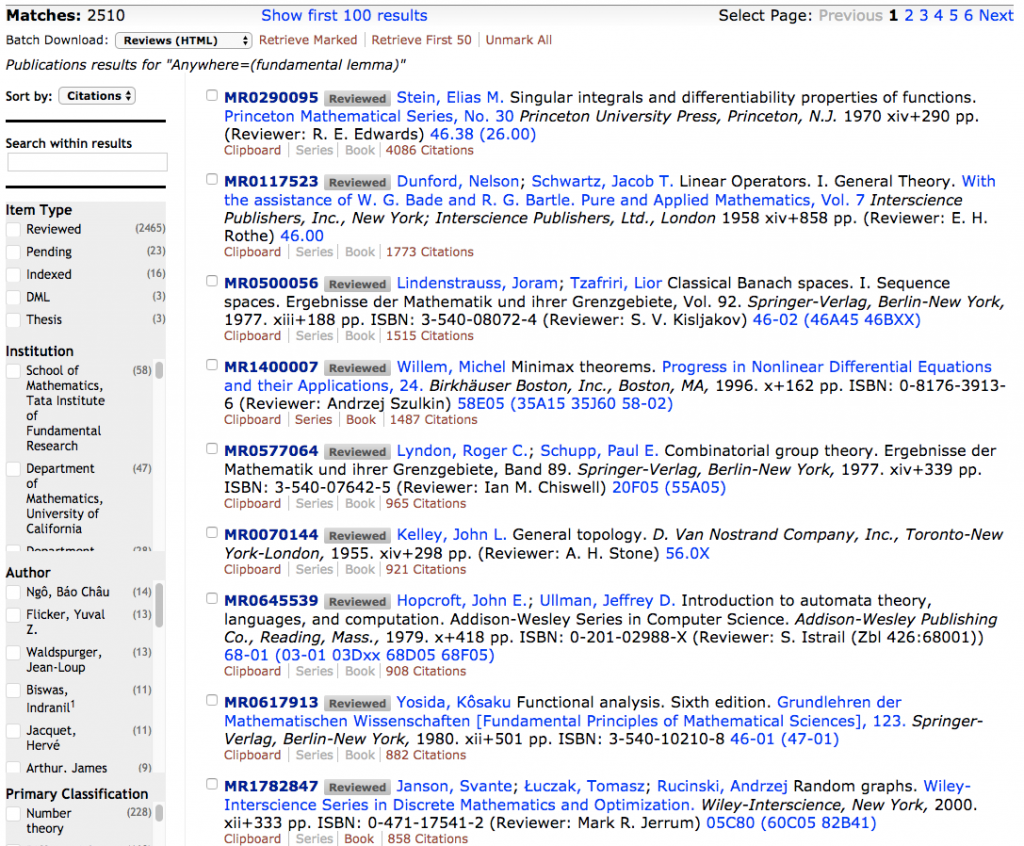 "screen shot of search results for ""fundamental lemma"" sorted by number of citations"