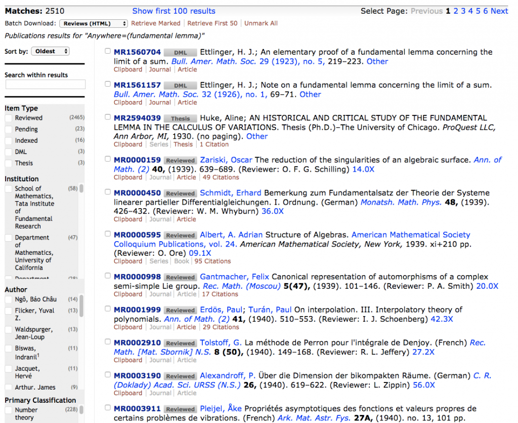 "screen shot of search results for ""fundamental lemma"" sorted by oldest first"