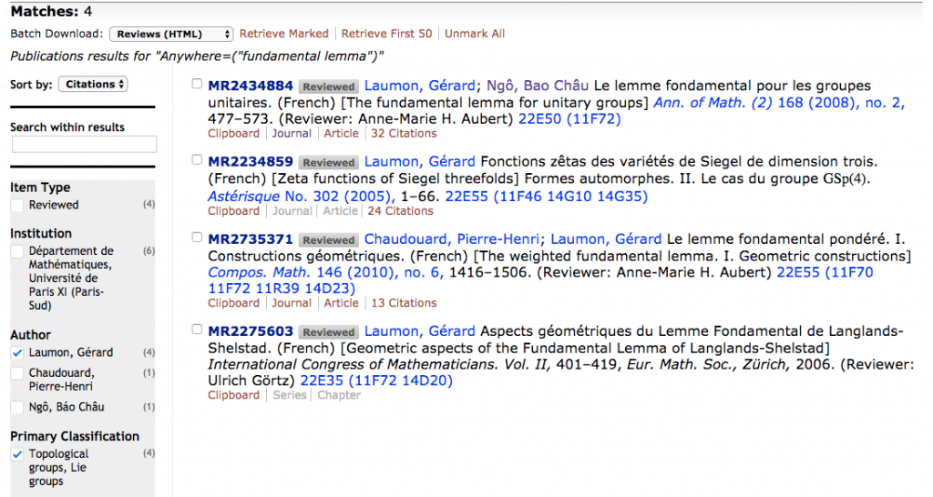 "Listing of the four matches in number theory for ""fundamental lemma"" with Author being Gérard Laumon, sorted by citations"
