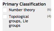 Screen shot of possible refinements by Primary Classifications, which are Number Theory (6 matches) or Topological groups, Lie groups (4 matches)