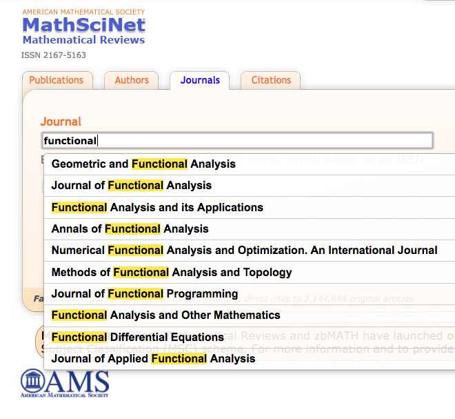 Screen shot of the auto suggest feature when searching the Journal database