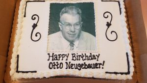 Birthday Cake with photo of Otto Neugebauer