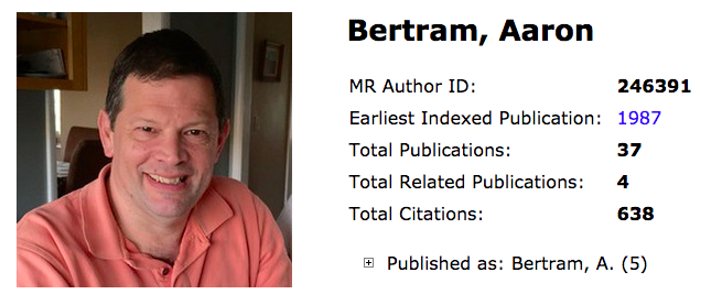Screen shot of Aaron Bertram's Author Profile page on MathSciNet