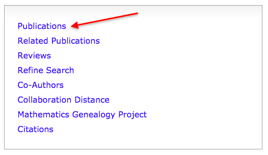 "Selecting ""Publications"" from an author profile on MathSciNet"
