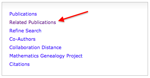 "Selecting ""Related Publications"" in an author profile page on MathSciNet"