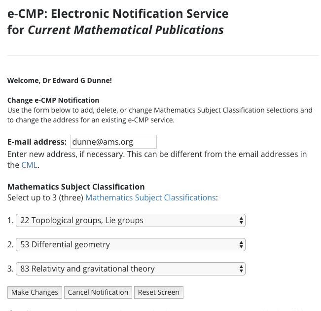 Page for activating or updating e-CMP notifications