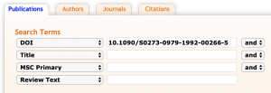 Example of searching for a DOI in a MathSciNet Publications search