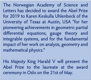 Official announcement of Abel Prize being awarded to Karen Uhlenbeck