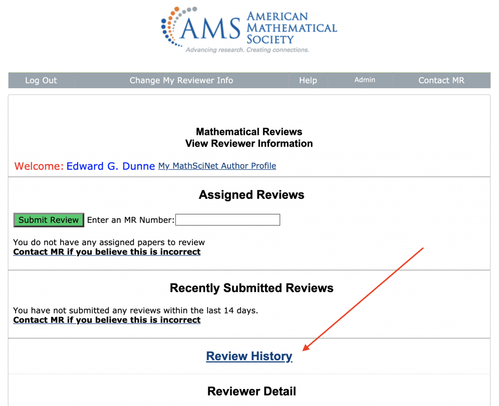 Screen shot of a reviewer page