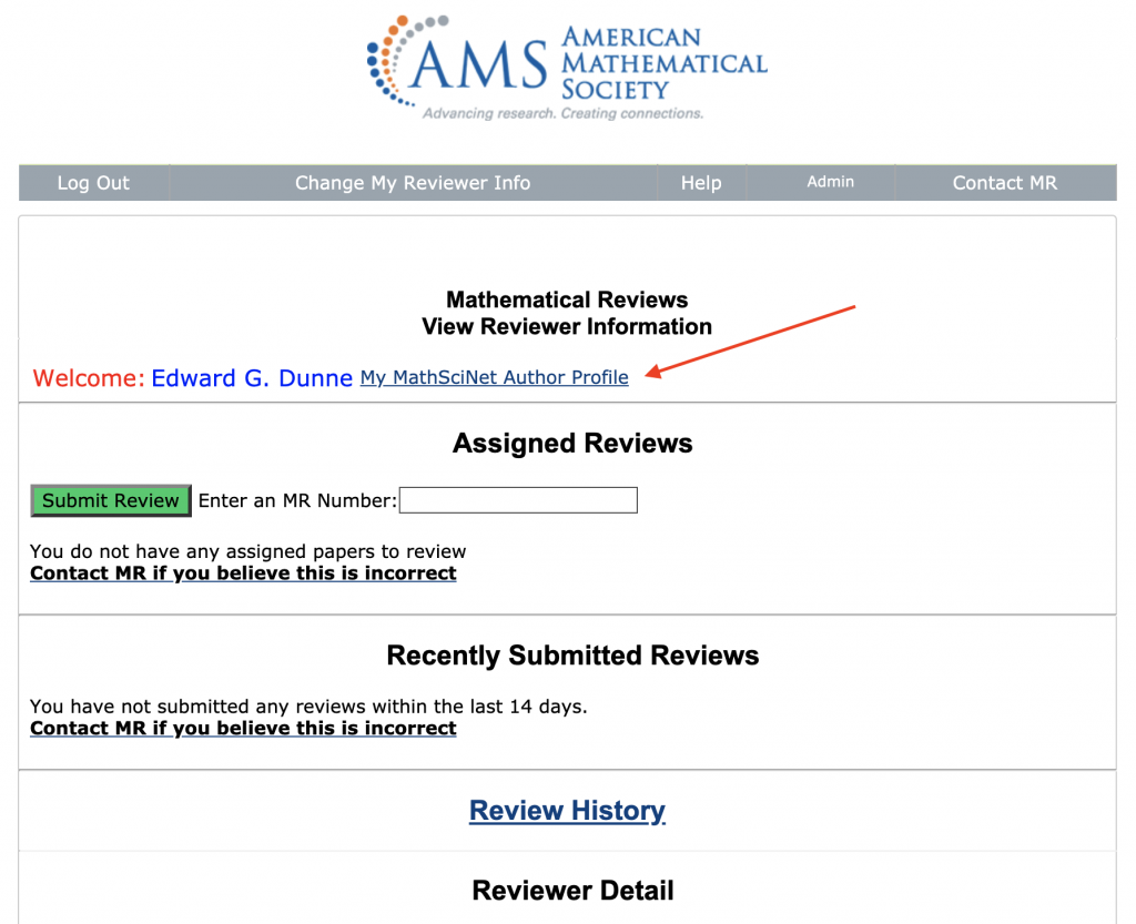 Reviewer Page Screenshot highlighting link to Author Profile Page
