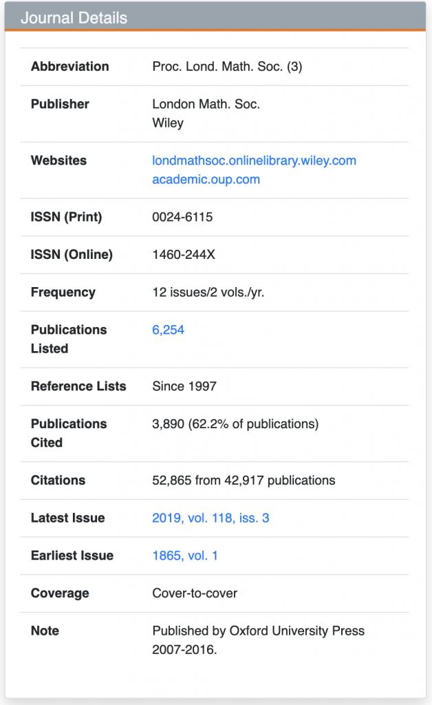 Screenshot of a journal's basic information