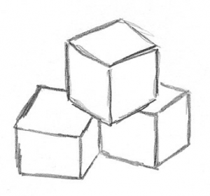 Drawing of three cubes