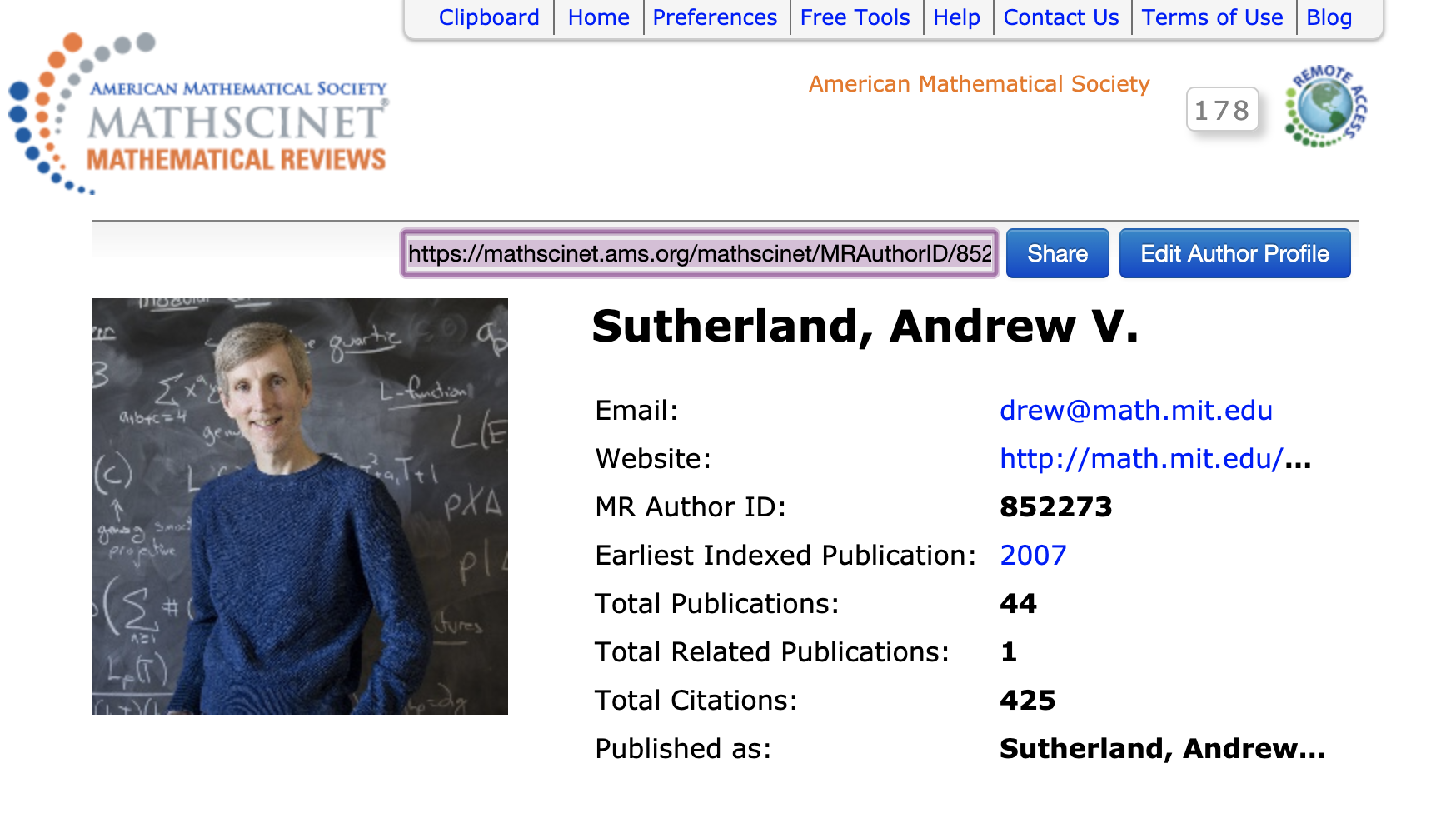 Author Profile Page for Andrew Sutherland showing the SHARE functionality