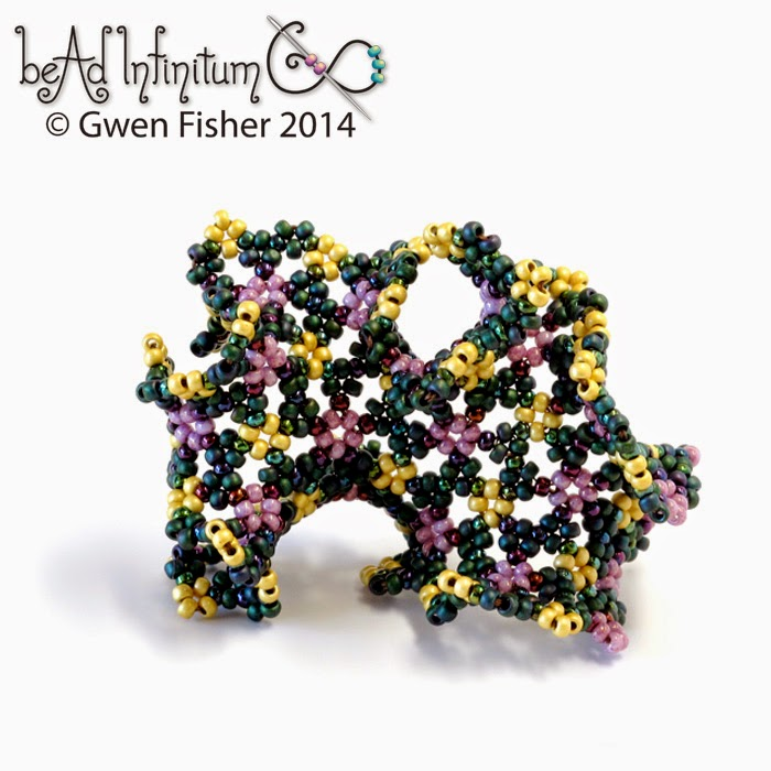 A beaded snub tetrapentagonal tiling of the hyperbolic plane. Image copyright Gwen Fisher. Used with permission.