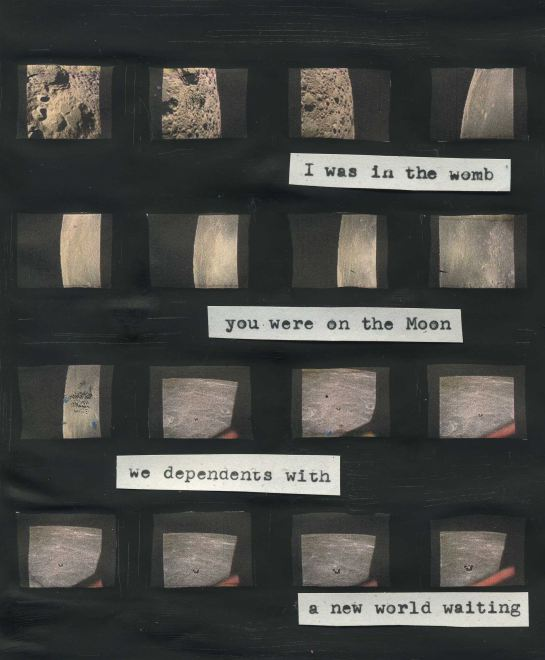 Poem typed onto an Apollo 11 image gallery. (Photos credit: NASA). Image: Christine Rueters.
