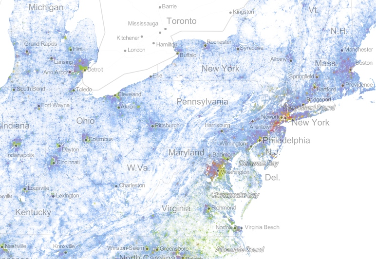 A swirly-whirly picture of diversity and segregation in the northeastern USA.  But does this tell the whole story? Courtesy of The Racial Dot Map