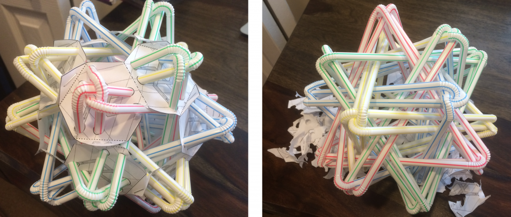My Straws Thingy, before and after savagely breaking free from its scaffold. Image: Evelyn Lamb.