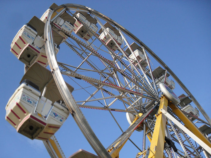 Circles, radii, and angles in a Ferris wheel at the Riley County 4-H fair. Image: Judy Klimek via Wikimedia Commons.