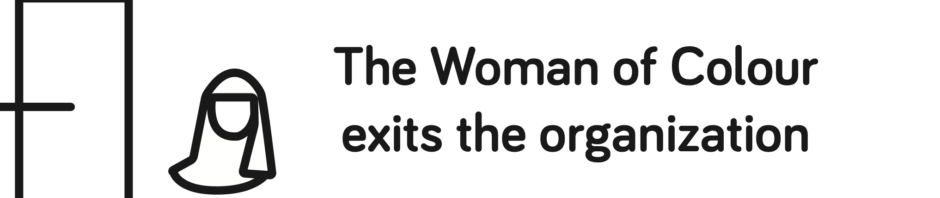 outline of a door, outline of a woman from the shoulders up with a head covering, Text: The Woman of Color exists the organization
