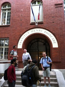 The front of the Institut Henri Poincare, with mathematicians. I don't know everyone's name, but the older man in the back is Pierre Cartier.