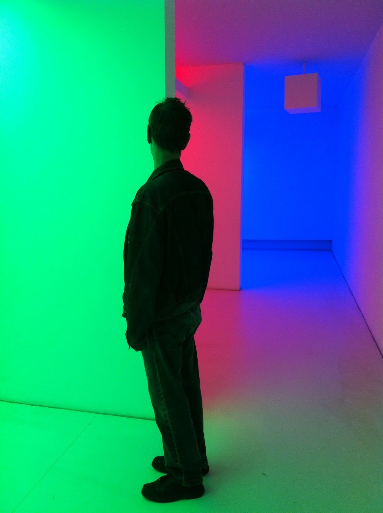 """Chromosaturation"", by Carlos Cruz Diez. Slightly less math but by a Venezuelan artist, so I though I would include it."