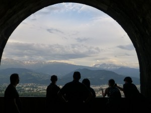 View of Grenoble from the Bastille. From left to right: Olivier Robert, Frank Thorne, Thomas Wright, Guillermo Mantilla-Soler, Cassie Williams, and Patrick Rault.