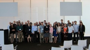 A photo of the whole group on the last day of the workshop. Photo courtesy of ICERM.