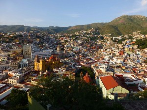 Guanajuato from above. The large white building behind the yellow church is actually the University of Guanajuato.