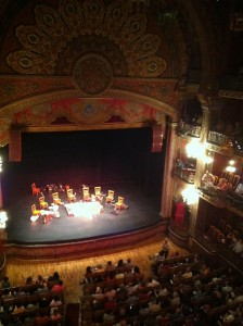 "Teatro Juarez, before the show. The group played medieval, renaissance, and colonial music, and were called ""Los Tiempos Pasados""."
