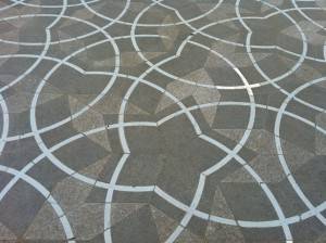 A Penrose tiling in front of the new Math Institute Building. My favorite anecdote is when someone saw Roger Penrose looking at the tiling pensively, as if trying to check that it was correct.