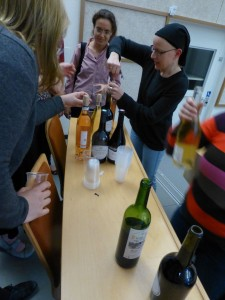 Living up to the name of the conference. Picture are Ekin Ozman (left) and Sara Zerbes (performing the very important duty of opening the wine).