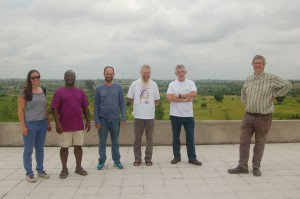Colleagues and travel buddies. Taken from the roof of the school being built by the Cuori Grandi missionaries in Amakpape, Togo. From left to right, moi, Alain Togbe, Jorge Jimenez Urroz, Michel Waldschmidt, Claude Levesque, and Francesco Pappalardi.