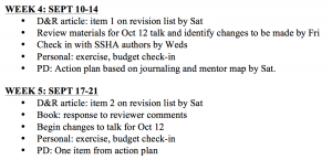 Sample semester plan, courtesy of NCFDD
