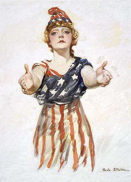"Original design for the ""Be Patriotic"" poster by Paul Stahr, 1917-18. Public Domain, from Wikipedia"